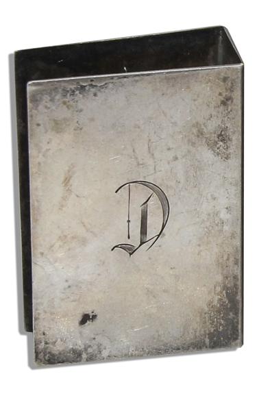 Marlene Dietrich Personally Owned Monogrammed ''D'' Silver-Plated Match Box