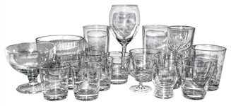 Lot of Glassware Owned by Greta Garbo -- Collection of 18 Items