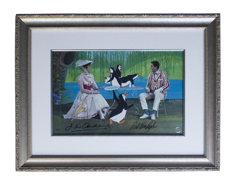 Julie Andrews Autograph Julie Andrews & Dick Van Dyke Signed Limited Edition ''Mary Poppins'' Artwork by Disney -- Created From Original Disney Animation Drawings