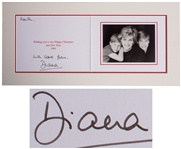 Princess Diana Signed Christmas Card From 1995 -- With Beautiful Portrait of Her With William & Harry