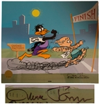 Chuck Jones Signed Limited Edition Hand-Painted Cel of Daffy Duck & Porky Pig