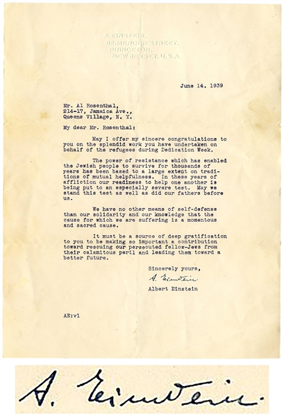 Albert Einstein Letter Signed During WWII -- …The power of resistance which has enabled the Jewish people to survive…our readiness to help one another is being put to an especially severe test…