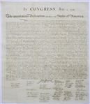 1833 Force Declaration of Independence From Original Copper Plate -- The Finest Copy Weve Ever Encountered, in Exceptional Condition