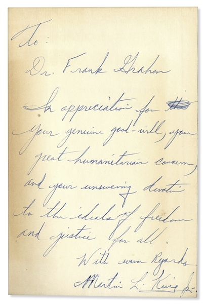 Martin Luther King Signed Stride Toward Freedom -- Inscribed to UNC President & United Nations Representative Frank Graham, …unswerving devotion to the ideals of freedom and justice for all…