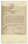 1924 Letter Signed From the Egyptian Government Regarding the Excavation of King Tuts Tomb -- ...stone from king Tout-Ankh-Amouns tomb...a crypt cut out in the rock...