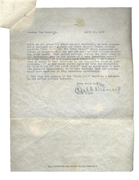 Fantastic Walt Disney Letter Signed From 1938 Regarding Neely Anti-Trust Legislation -- …If we had known before entering into the production of 'SNOW WHITE AND THE SEVEN DWARFS'…hazardous venture…
