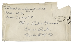 Rene Gagnon Signed Envelope From 1943 While a WWII Marine