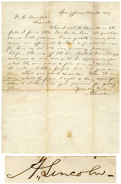 Abraham Lincoln Autograph Letter Signed From 1857 as a Lawyer in Springfield, Illinois on a Land Fraud Case -- ''...I was greatly vexed...''