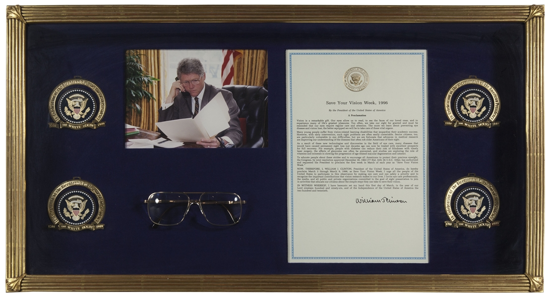 Large Collection of Presidential Eyeglasses -- Nine Pairs Belonging to Nine U.S. Presidents, Including Truman, Reagan, LBJ, Clinton, Bush 41 and Bush 43, Carter, Nixon & Ford
