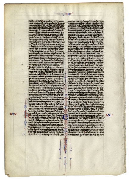 Medieval Vellum Bible Leaf -- Scrollwork From 1250 A.D.