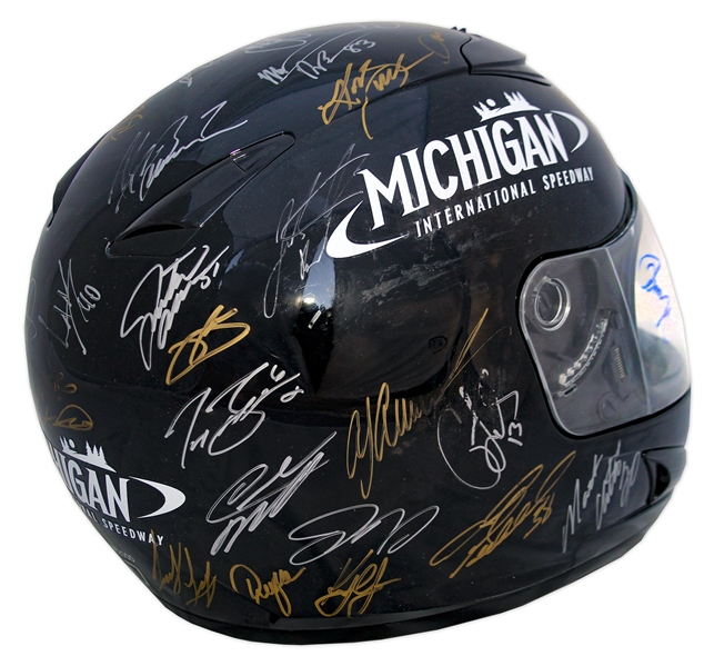 NASCAR Helmet Signed by 41 Drivers, Entire Starting Line-up at the ''Quicken Loans 400'' -- Signatures From Dale Earnhardt, Jr., Brad Keselowski, Jimmie Johnson & 38 More -- With NASCAR COA