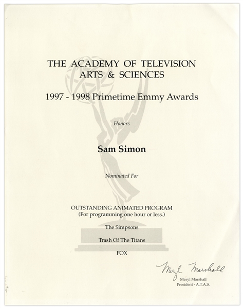 Emmy Nomination Certificate for ''The Simpsons'' Given to Sam Simon in 1998, Co-Creator of the Show -- From the Sam Simon Estate