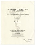 Emmy Nomination Certificate for The Simpsons Given to Sam Simon in 1998, Co-Creator of the Show -- From the Sam Simon Estate