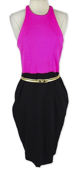 Khloe Kardashian Owned Pink & Black Dress With Gold Belt