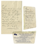 Franklin D. Roosevelt Autograph Note Signed FDR & Autograph Letter Signed to His Son