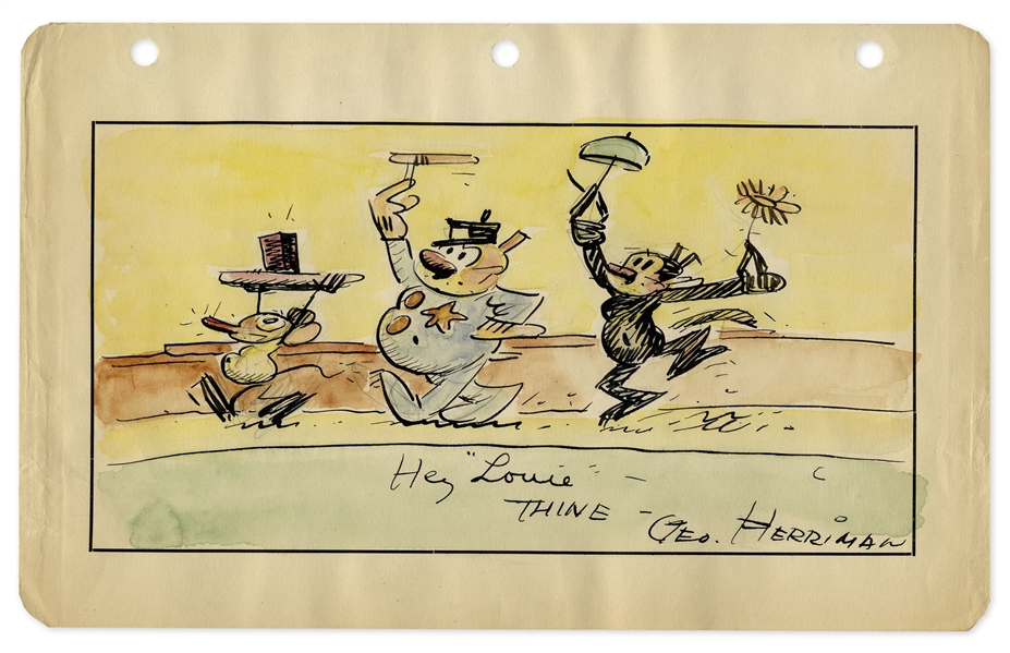 Krazy Kat Illustration by George Herriman -- Composed in Ink & Watercolor, Measuring 9.5'' x 6'' of Krazy Kat, Ignatz Mouse & Officer Bull Pupp
