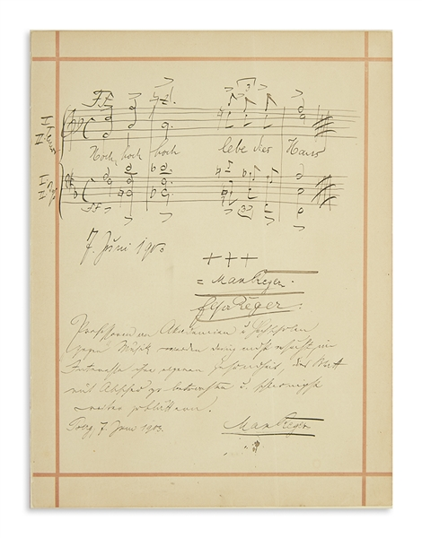 Max Reger Autograph Musical Quotation Signed, Plus Handwritten Note Signed -- ''...regard this page with aversion and to turn to another page at once...''