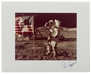 Gene Cernan Signed 20 x 16 Photo Display of Cernan Saluting the U.S. Flag on the Moon During Apollo 17