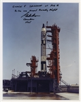 Gordon Cooper Signed 8 x 10 Photo of the Gemini 5 Launchpad Before Our Record Breaking Flight