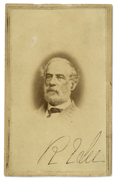 Robert E. Lee Signed CDV Photo -- In Military Uniform With Three Confederate Stars on His Lapel