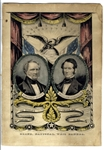 Hand-Colored Campaign Banner for the 1852 Whig Presidential Ticket -- Featuring War Veteran Winfield Scott, Lithographed by Nathaniel Currier