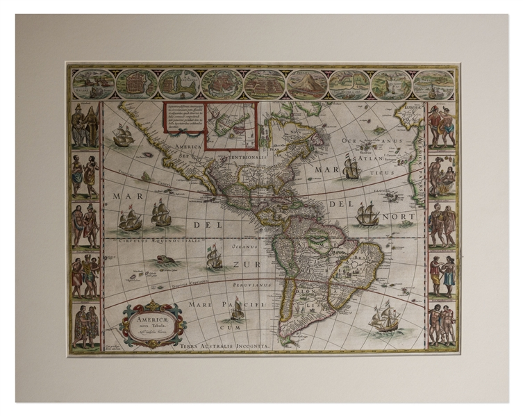 17th Century Hand-Colored Map of the Americas by Noted Cartographer Willem Blaeu -- Entitled ''A New Map of America''