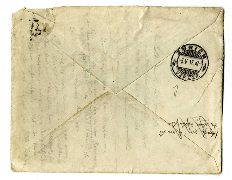 Albert Einstein Envelope Signed From 1917 -- To His Close Friend & Colleague Michele Besso