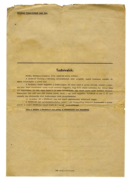 Raoul Wallenberg Signed Document From 1944, Granting a Protective Pass to 2 Siblings & Exempting Them From Having to Wear the Star of David -- Lot Also Includes Embassy Questionnaire for the Refugees