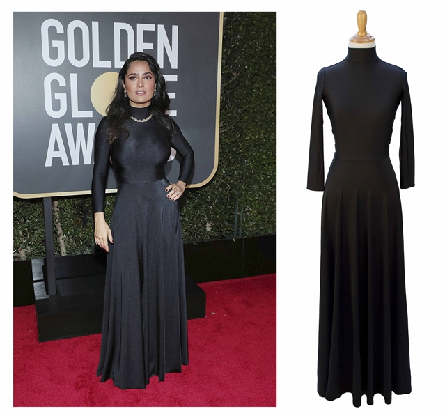 Salma Hayek's Balenciaga Gown Worn at the 75th Golden Globe Awards in 2018 -- Black Gown Sold to Benefit ''TIME'S UP''
