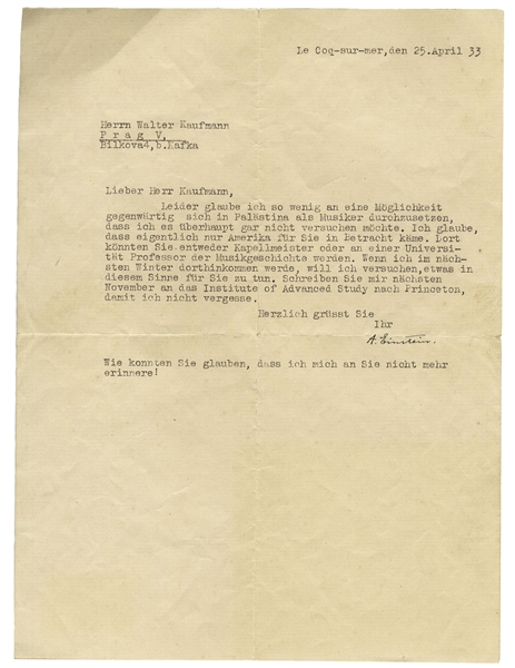 Albert Einstein 1933 Letter Signed to Composer Walter Kaufmann -- ''...I have so little faith in the possibility of prevailing as a musician in Palestine...only America would be a likely choice...''