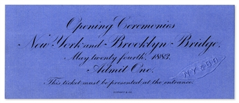 Admission Ticket to the Brooklyn Bridge Opening Ceremonies -- Near Fine & Printed by Tiffany & Co.