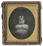 Rare Sixth-Plate Daguerreotype of a Small Child -- Full Case With Bird and Grapevine Variant Design by Rinhart