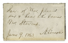 Abraham Lincoln Autograph Note Signed From 1863 -- Lincoln Asks His Secretary of War to See the Powerful Abolitionist Congressman Thaddeus Stevens