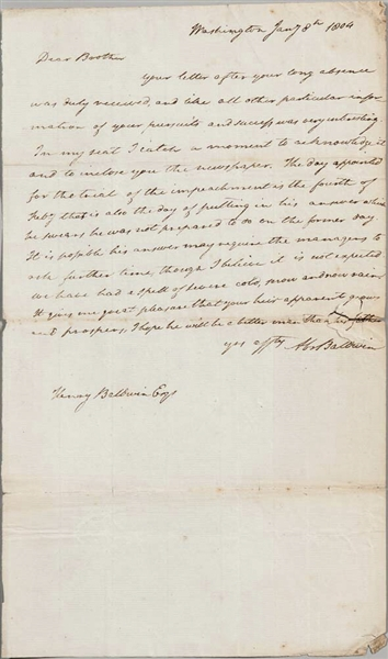 Founding Father Abraham Baldwin Autograph Letter Signed as U.S. Senator Regarding Impeachment Trial of Supreme Court Justice Samuel Chase