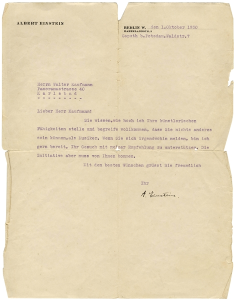 Albert Einstein Letter Signed to Composer Walter Kaufmann -- ''...You know how highly I esteem your artistic competencies...''