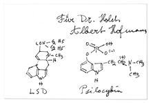 Albert Hofmann Signed Chemical Formula for LSD & Psilocybin -- Hofmann Was the First to Discover & Ingest the LSD Compound