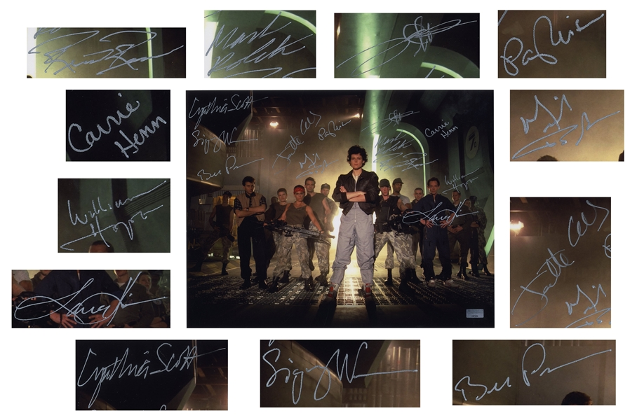 ''Aliens'' Cast Signed 14'' x 11'' Photo -- Signed by 12 Key Cast Members Including Sigourney Weaver and Bill Paxton