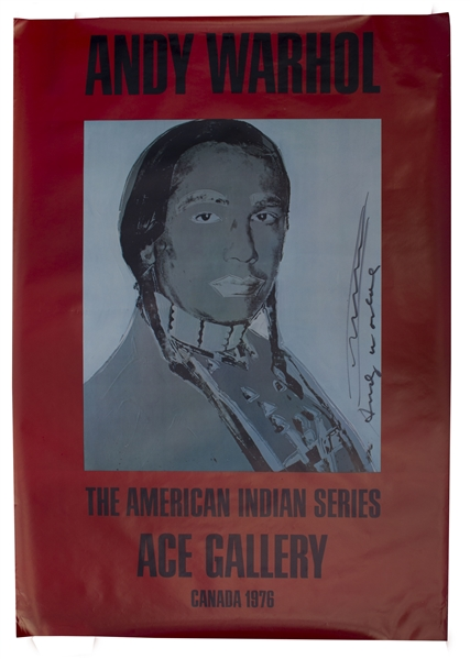 Andy Warhol Signed 50'' x 35'' Poster, With Hand-Drawn River, From His ''American Indian'' Series -- Here Featuring Activist Russell Means, a Leader at Wounded Knee