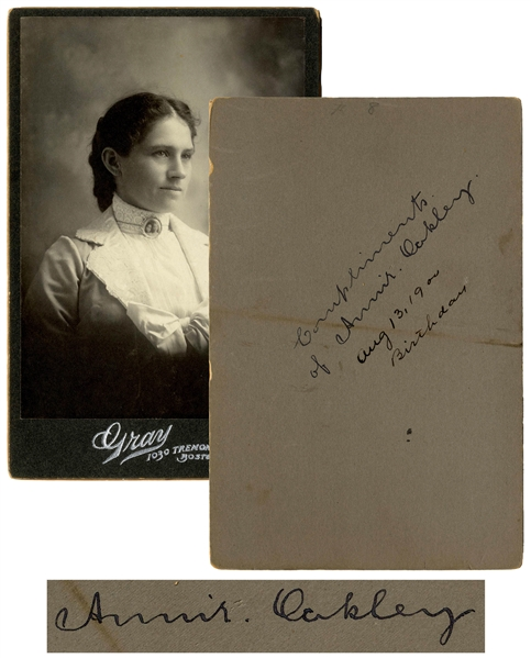 Annie Oakley Signed Cabinet Card -- Large 4.25'' x 6'' Card Signed on Her 59th Birthday