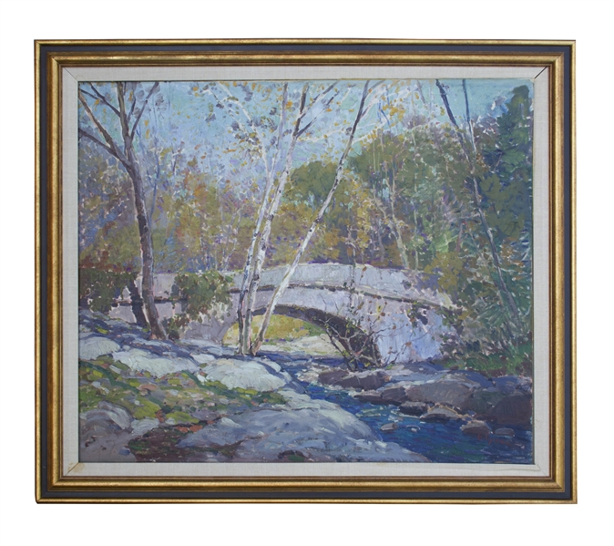 Anthony Thieme Painting Entitled ''Bridge in Autumn''