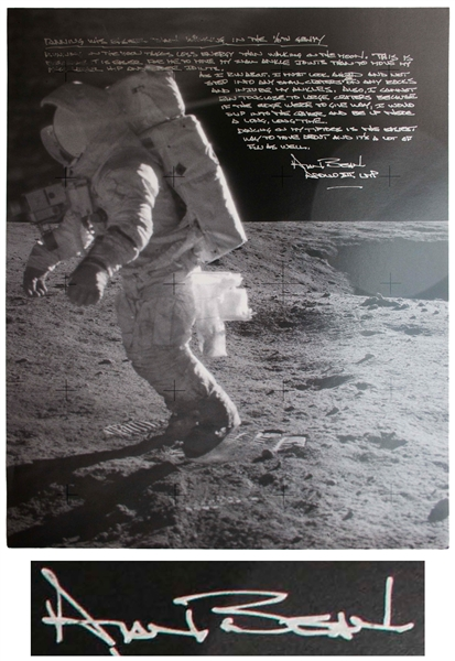 Alan Bean Signed 16'' x 20'' Lunar Photo With Fantastic Handwritten Detail on Exploring the Moon -- ''...if the edge were to give way, I would slip into the crater and be up there a long, long...