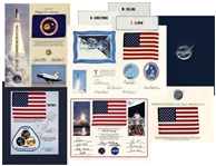 Four American Flags Flown on Space Shuttles Challenger, Columbia & Atlantis -- Plus NASA Flag Flown on Discovery & Apollo 11 Crew Beta Name Tags
