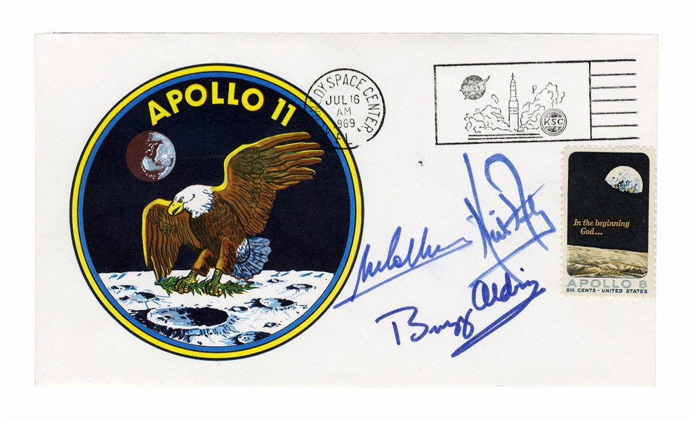 Apollo 11 Crew-Signed ''Type Three'' Insurance Cover -- Signed by Neil Armstrong, Buzz Aldrin and Michael Collins