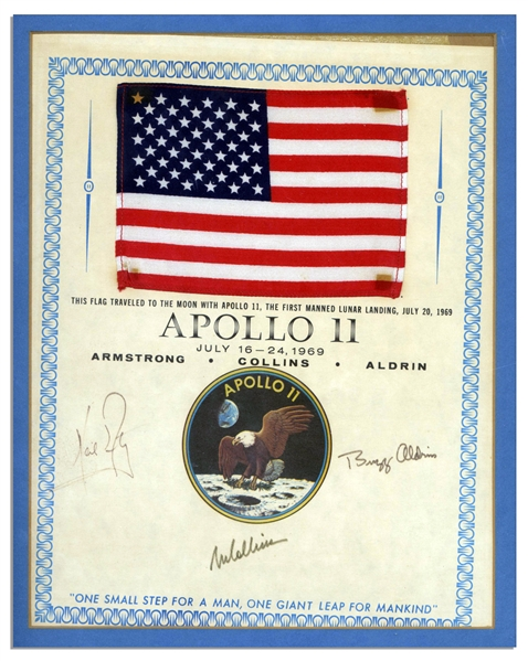 Scarce Apollo 11 Space-Flown U.S. Flag -- Affixed to a NASA Certificate Signed by Each of the Apollo 11 Crew Members: Neil Armstrong, Michael Collins & Buzz Aldrin -- With Steve Zarelli COA