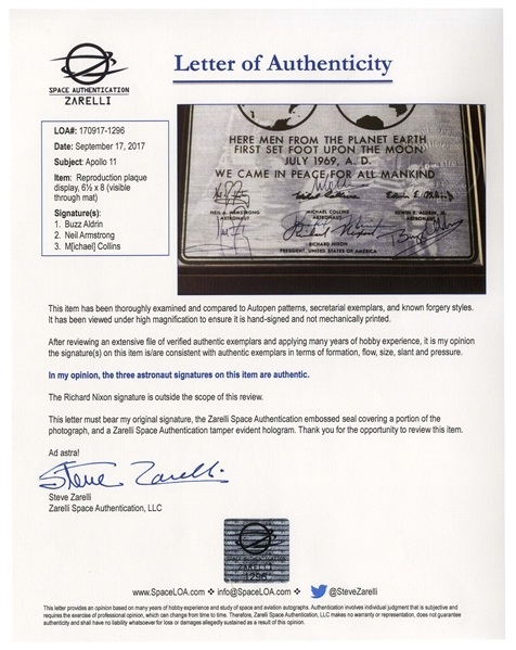 Apollo 11 Crew-Signed Certificate, Also Signed by Richard Nixon -- Very Rare Replica of the One Left on the Moon -- With Steve Zarelli & University Archives COAs for All Signatures