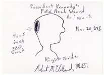 Signed Drawing of President Kennedys Fatal Head Wound by Dr. Robert McClelland, the Physician Who Held President Kennedys Head at the Dallas Hospital