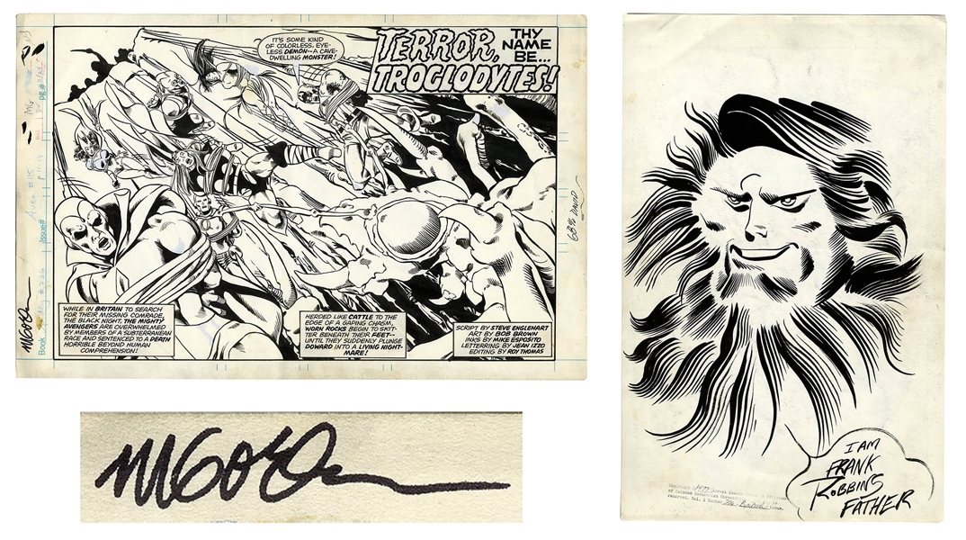 ''Avengers'' Original Art From 1977 Signed by the Artist Michael Golden -- Splash Page With Additional Large Sketch by Golden on Verso