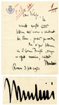 Benito Mussolini Autograph Letter Signed as Prime Minister -- ...It cannot be tolerated that the Fascist Government should be weakened...
