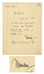 Benito Mussolini Autograph Letter Signed -- ...to exchange a banknote for gold...
