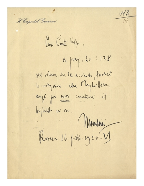 Benito Mussolini Autograph Letter Signed -- ''...to exchange a banknote for gold...''